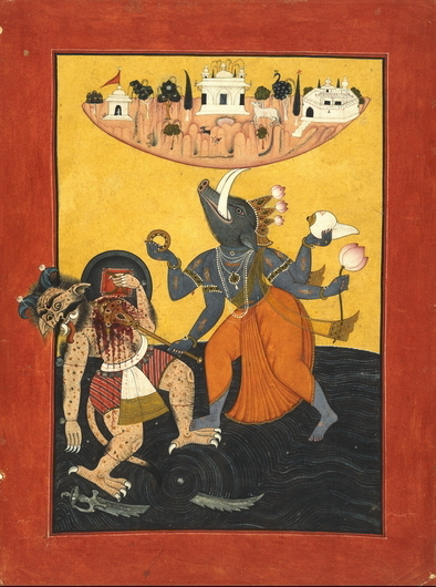 Varaha_avtar,_killing_a_demon_to_protect_Bhu,_c1740